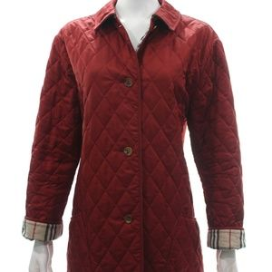 BURBERRY RED QUILTED COAT SIZE L